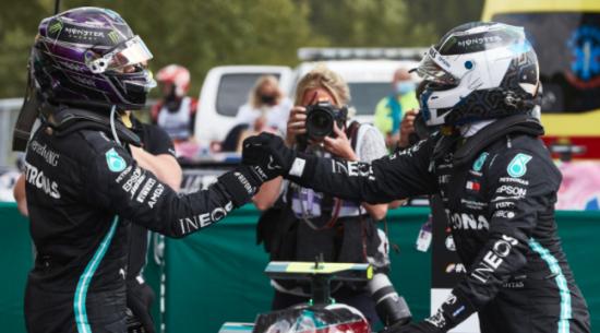梅赛德斯-AMG在2020年一级方程式比利时大奖赛上获得一名