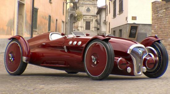 这款1940年代启发的赛车外观经典,但实际上是电动汽车