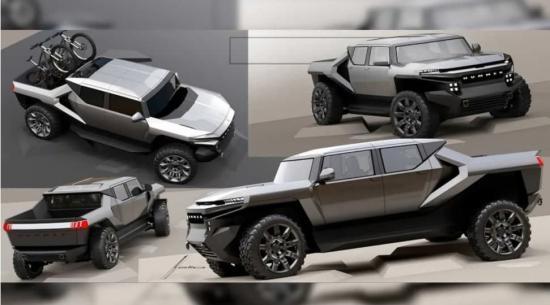 GMC悍马EV早期设计草图显示卡车具有未来派风格