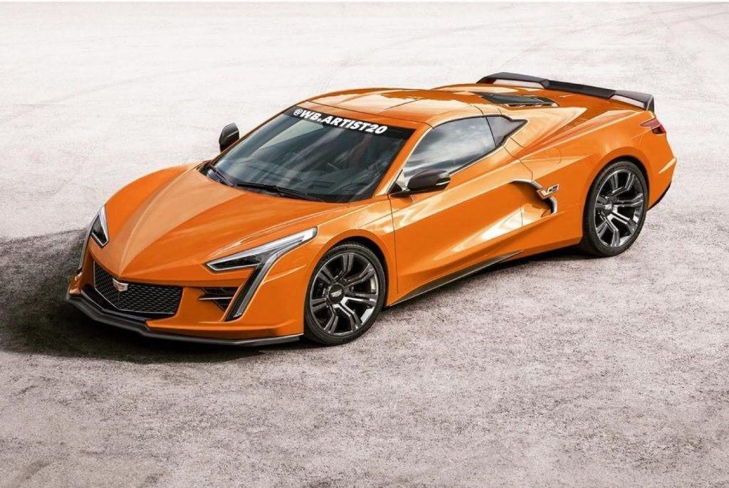 艺术家想象C8克尔维特为基础的凯迪拉克跑车