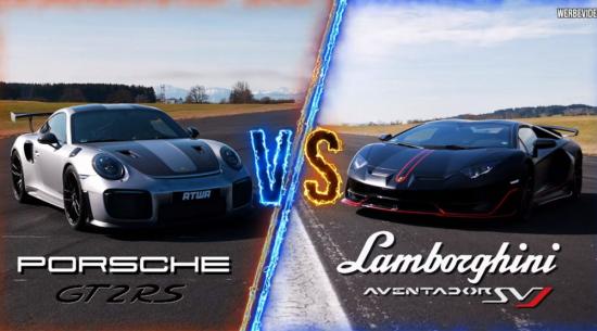 兰博基尼Aventador SVJ和保时捷911 GT2 RS在史诗般的加速赛中势均力敌