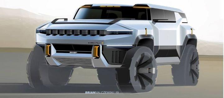 通用汽车设计师展示早期悍马EV SUV草图
